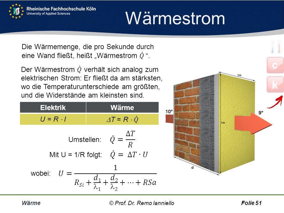 Aufgabe Berechnung von U Wärme© Prof. Dr. Remo IannielloFolie 50 Verputzte Ziegelwand Außenwand aus Ziegeln mit einer Dicke von 20 cm, innen mit 15 mm
