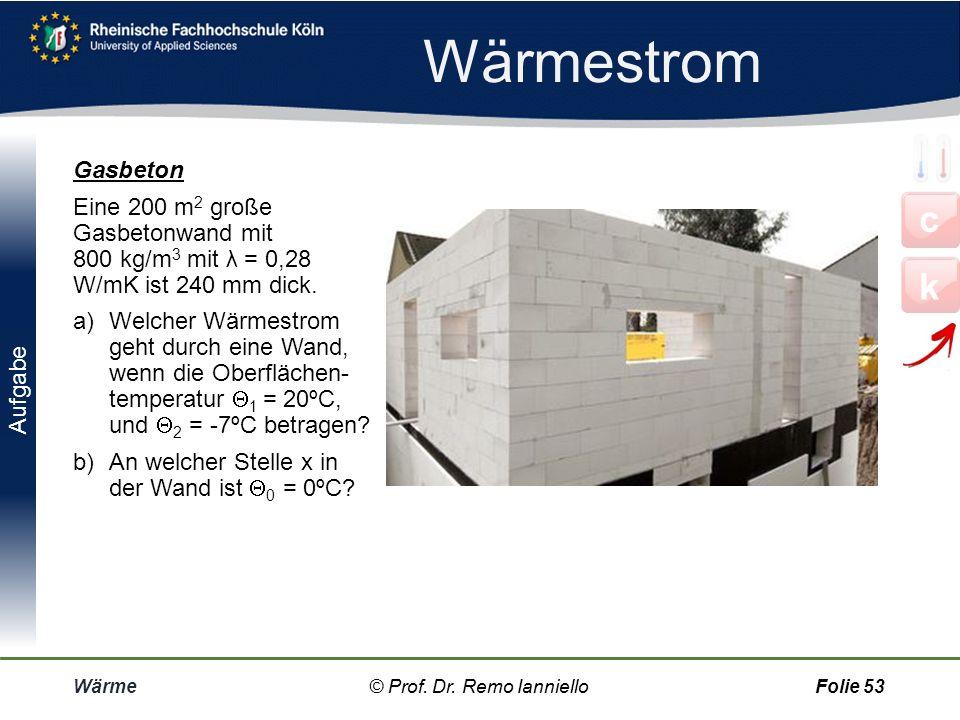 Überblick Wärme© Prof. Dr. Remo IannielloFolie 52 c k © Prof. Dr. Remo Ianniello