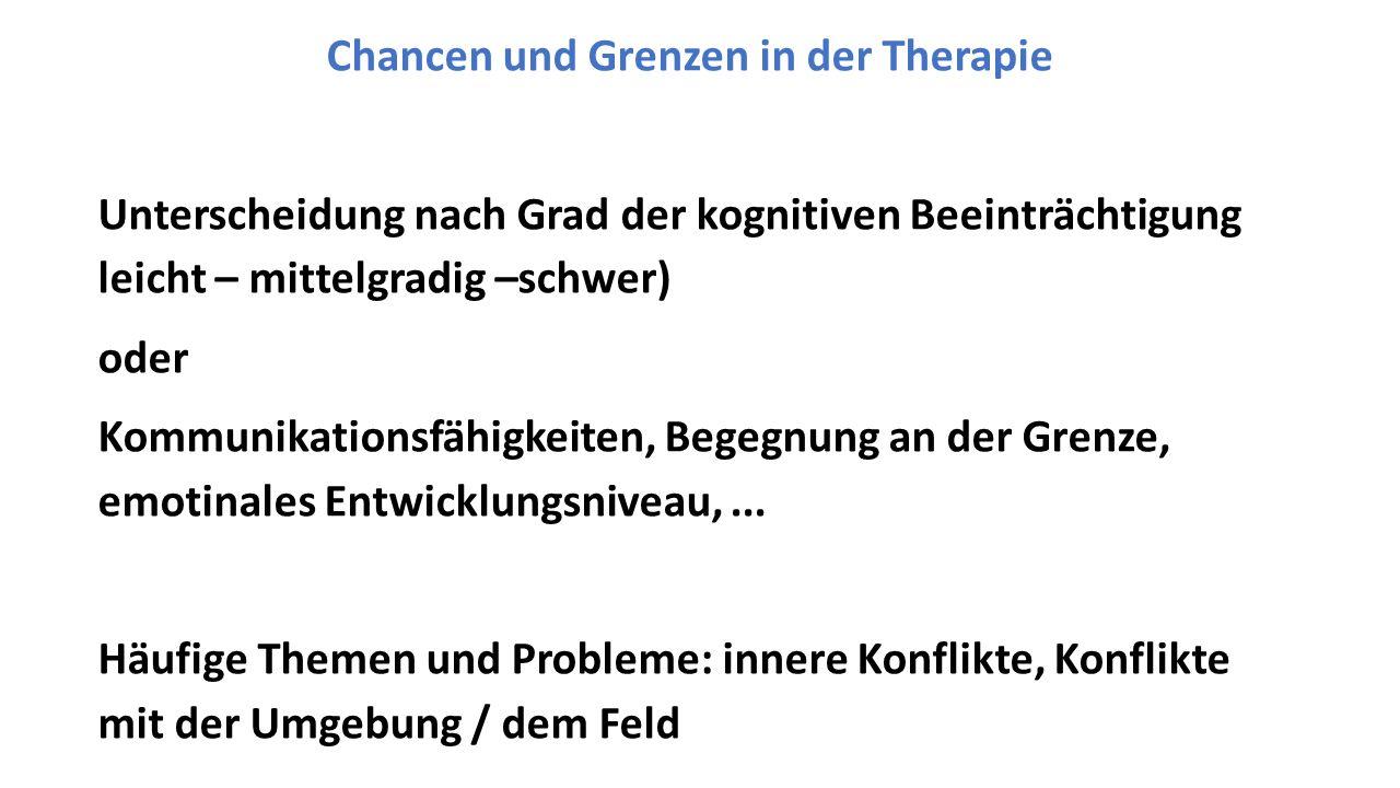 Chancen und Grenzen in der Therapie Unterscheidung nach Grad der kognitiven Beeinträchtigung leicht – mittelgradig –schwer) oder Kommunikationsfähigkeiten, Begegnung an der Grenze, emotinales Entwicklungsniveau,...