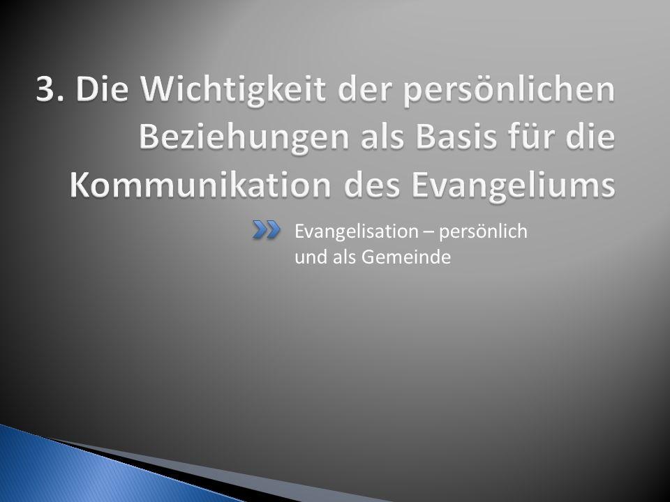 Evangelisation – persönlich und als Gemeinde