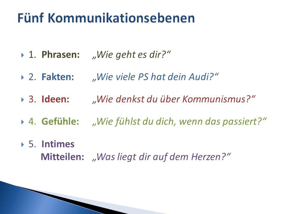 """ 1. Phrasen: """"Wie geht es dir?""""  2. Fakten: """"Wie viele PS hat dein Audi?""""  3. Ideen:""""Wie denkst du über Kommunismus?""""  4. Gefühle:""""Wie fühlst du d"""