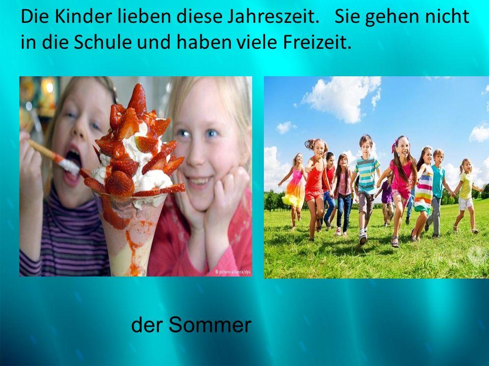 Die Kinder lieben diese Jahreszeit. Sie gehen nicht in die Schule und haben viele Freizeit. der Sommer