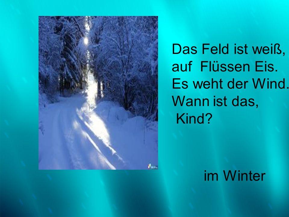 Das Feld ist weiß, auf Flüssen Eis. Es weht der Wind. Wann ist das, Kind? im Winter
