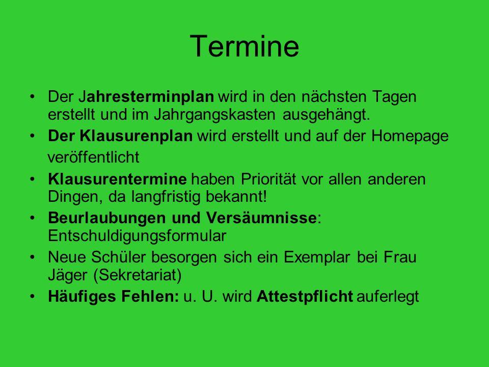 Termine II Jg 12: Abitur 2015 - Ende 4.