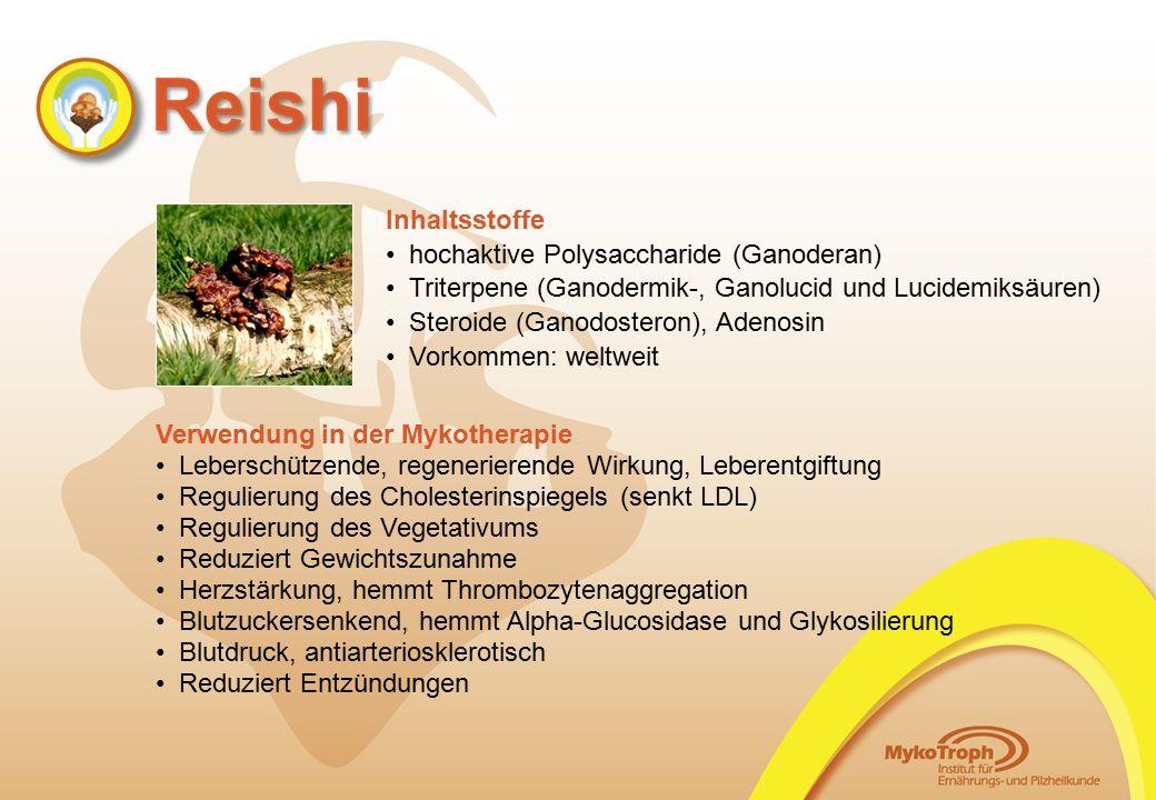 Inhaltsstoffe hochaktive Polysaccharide (Ganoderan) Triterpene (Ganodermik-, Ganolucid und Lucidemiksäuren) Steroide (Ganodosteron), Adenosin Vorko