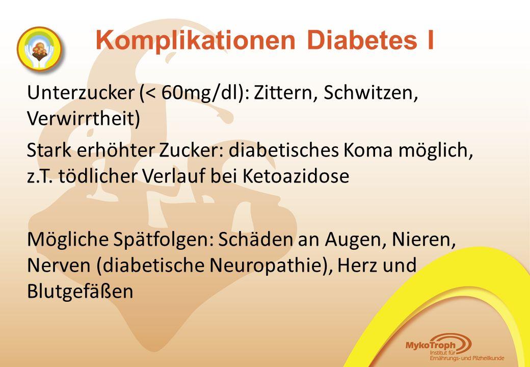 Komplikationen Diabetes I Unterzucker (< 60mg/dl): Zittern, Schwitzen, Verwirrtheit) Stark erhöhter Zucker: diabetisches Koma möglich, z.T. tödlicher