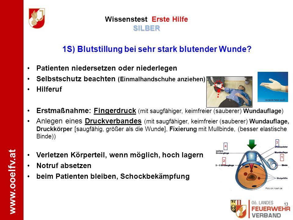 www.ooelfv.at SILBER Wissenstest Erste Hilfe SILBER Stabile Seitenlagerung 5B) Benenne und demonstriere die Lagerung bei Bewusstlosigkeit ! ÖJRK.bfk-w
