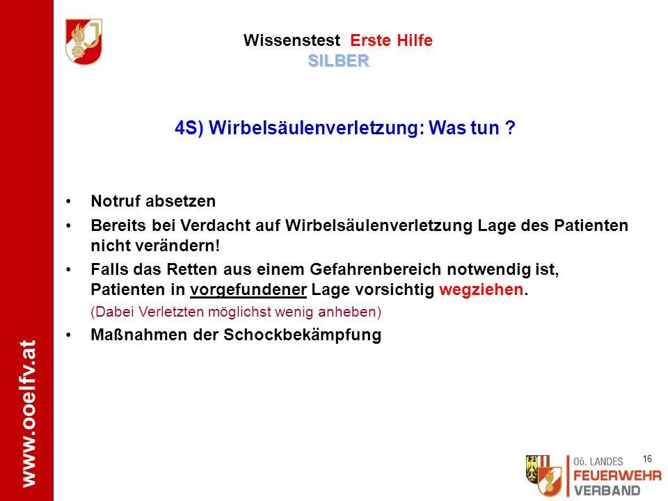 www.ooelfv.at SILBER Wissenstest Erste Hilfe SILBER ÖRK www.drk-engstingen-hohenstein.de Patient bei Bewusstsein: o Kopf und Oberkörper leicht erhöht