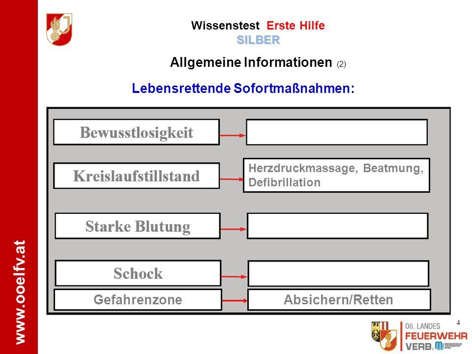 www.ooelfv.at Lebensrettende Sofortmaßnahmen: Herzdruckmassage, Beatmung, Defibrillation Gefahrenzone Absichern/Retten SILBER Wissenstest Erste Hilfe SILBER Allgemeine Informationen (2) 4