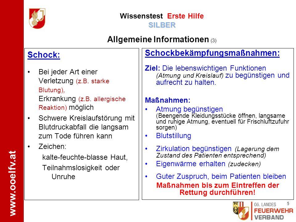 www.ooelfv.at SILBER Wissenstest Erste Hilfe SILBER ÖRK www.drk-engstingen-hohenstein.de Patient bei Bewusstsein: o Kopf und Oberkörper leicht erhöht lagern o Wunde mit Wundverband abdecken (evtl.