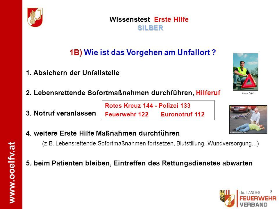 www.ooelfv.at SILBER Wissenstest Erste Hilfe SILBER 1.