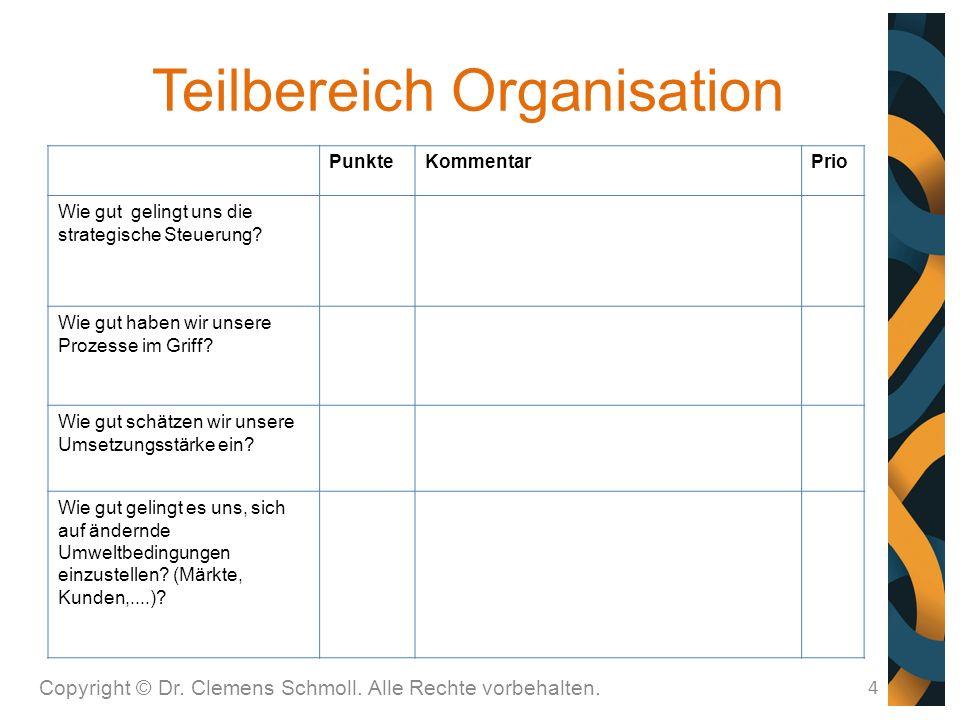 Teilbereich Organisation 4 PunkteKommentarPrio Wie gut gelingt uns die strategische Steuerung.
