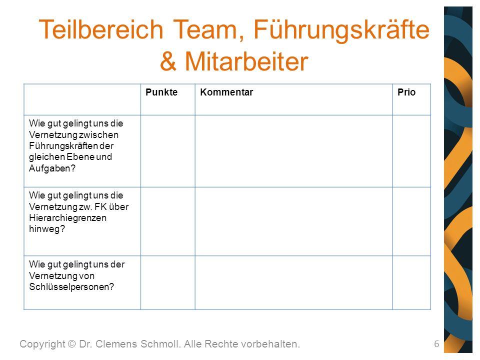 Teilbereich Team, Führungskräfte & Mitarbeiter 6 PunkteKommentarPrio Wie gut gelingt uns die Vernetzung zwischen Führungskräften der gleichen Ebene und Aufgaben.