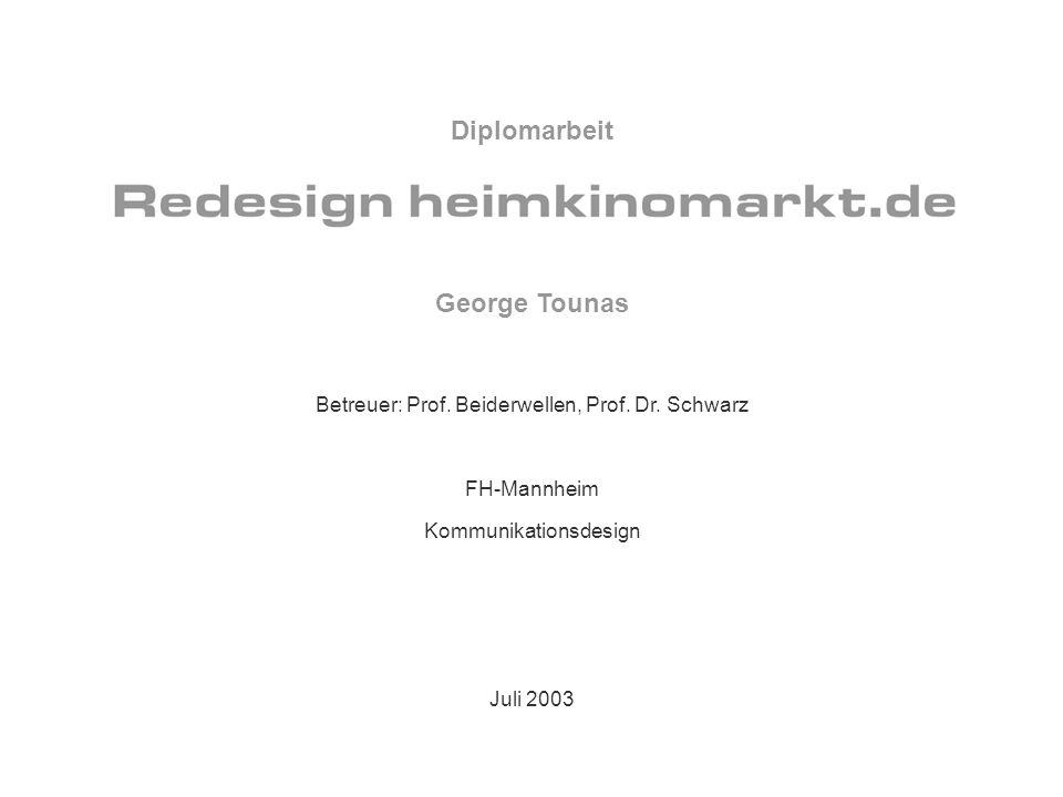 George Tounas Betreuer: Prof. Beiderwellen, Prof. Dr. Schwarz FH-Mannheim Kommunikationsdesign Juli 2003 Diplomarbeit
