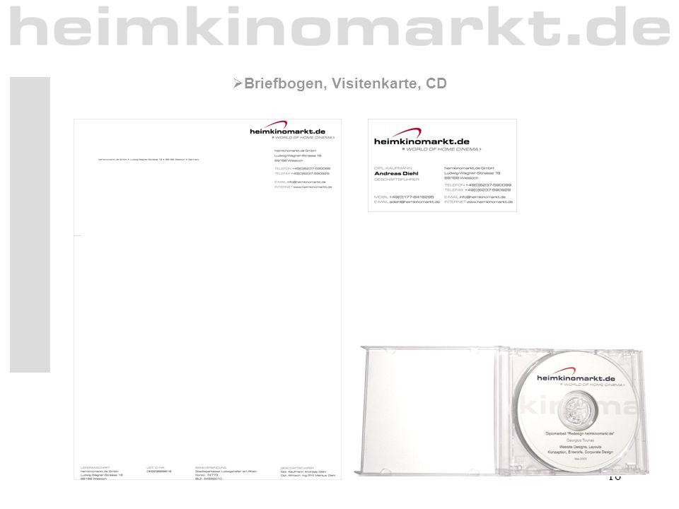 16  Briefbogen, Visitenkarte, CD