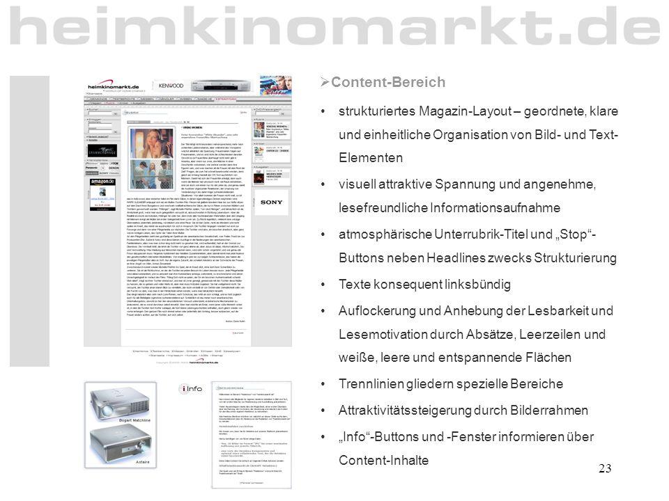 23  Content-Bereich strukturiertes Magazin-Layout – geordnete, klare und einheitliche Organisation von Bild- und Text- Elementen visuell attraktive S