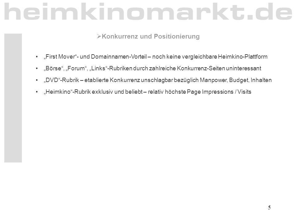 """5 """"First Mover""""- und Domainnamen-Vorteil – noch keine vergleichbare Heimkino-Plattform """"Börse"""", """"Forum"""", """"Links""""-Rubriken durch zahlreiche Konkurrenz-"""
