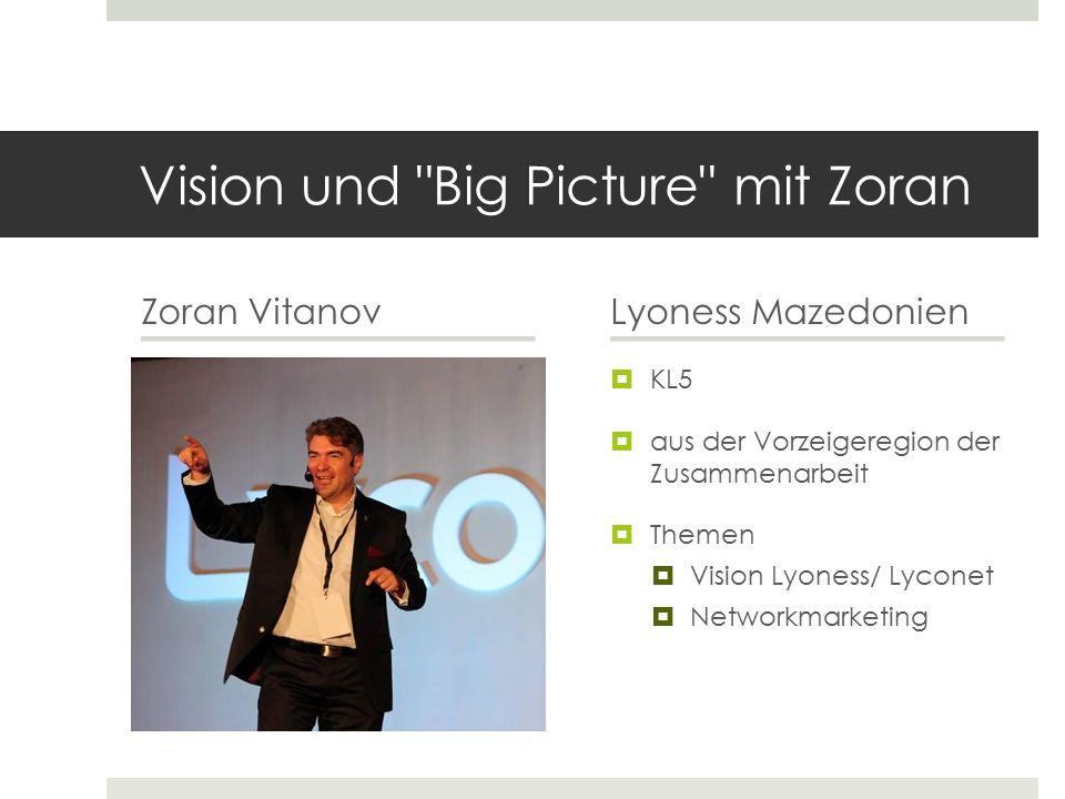 Vision und Big Picture mit Zoran Zoran VitanovLyoness Mazedonien  KL5  aus der Vorzeigeregion der Zusammenarbeit  Themen  Vision Lyoness/ Lyconet  Networkmarketing