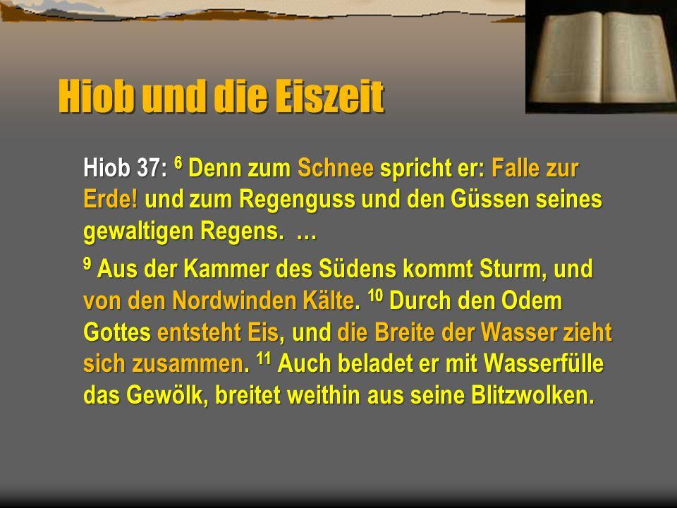 Hiob und die Eiszeit Hiob 37: 6 Denn zum Schnee spricht er: Falle zur Erde! und zum Regenguss und den Güssen seines gewaltigen Regens. … 9 Aus der Kam