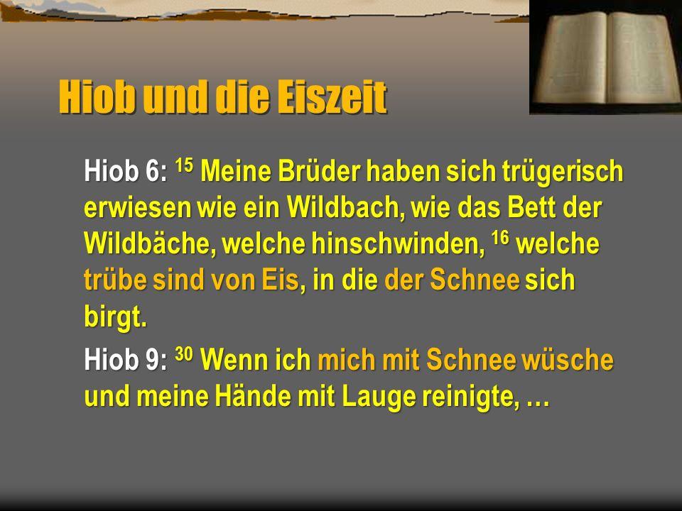 Hiob und die Eiszeit Hiob 6: 15 Meine Brüder haben sich trügerisch erwiesen wie ein Wildbach, wie das Bett der Wildbäche, welche hinschwinden, 16 welc