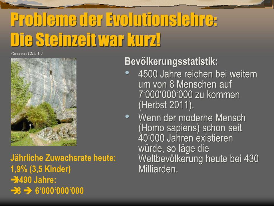 Bevölkerungsstatistik: 4500 Jahre reichen bei weitem um von 8 Menschen auf 7'000'000'000 zu kommen (Herbst 2011). 4500 Jahre reichen bei weitem um von
