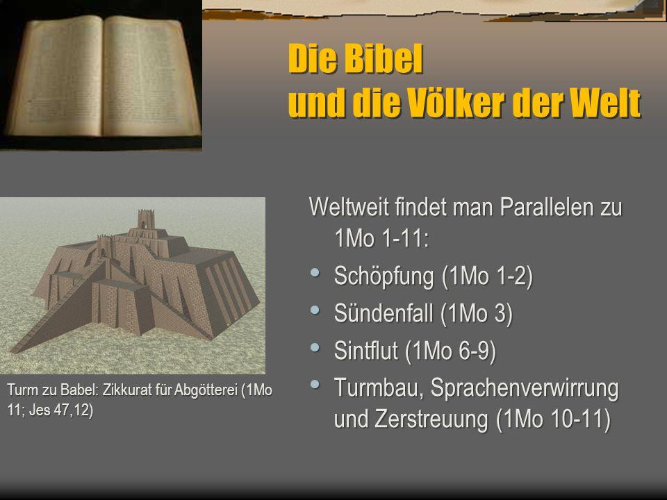 Die Bibel und die Völker der Welt Weltweit findet man Parallelen zu 1Mo 1-11: Schöpfung (1Mo 1-2) Schöpfung (1Mo 1-2) Sündenfall (1Mo 3) Sündenfall (1