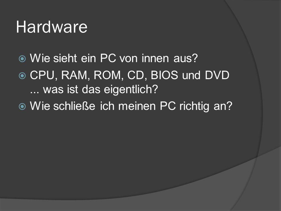 Hardware  Wie sieht ein PC von innen aus?  CPU, RAM, ROM, CD, BIOS und DVD... was ist das eigentlich?  Wie schließe ich meinen PC richtig an?