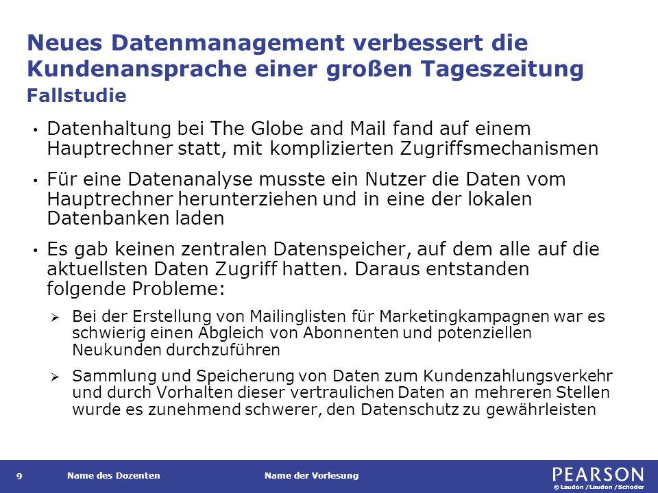 © Laudon /Laudon /Schoder Name des DozentenName der Vorlesung Neues Datenmanagement verbessert die Kundenansprache einer großen Tageszeitung 9 Datenha