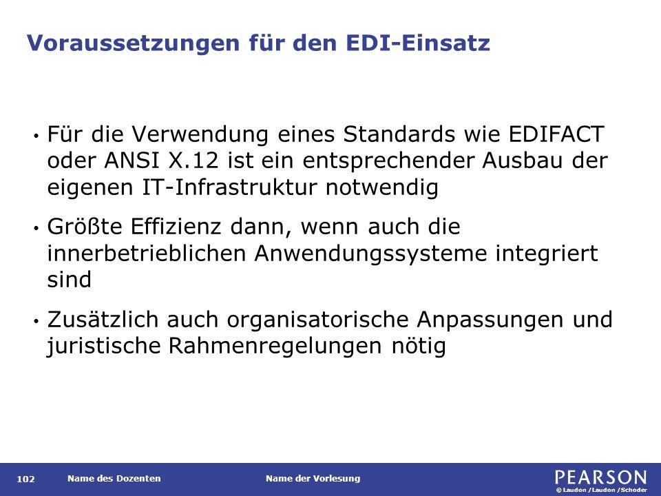 © Laudon /Laudon /Schoder Name des DozentenName der Vorlesung Voraussetzungen für den EDI-Einsatz 102 Für die Verwendung eines Standards wie EDIFACT o
