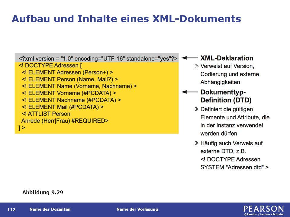 © Laudon /Laudon /Schoder Name des DozentenName der Vorlesung Aufbau und Inhalte eines XML-Dokuments 112 Abbildung 9.29