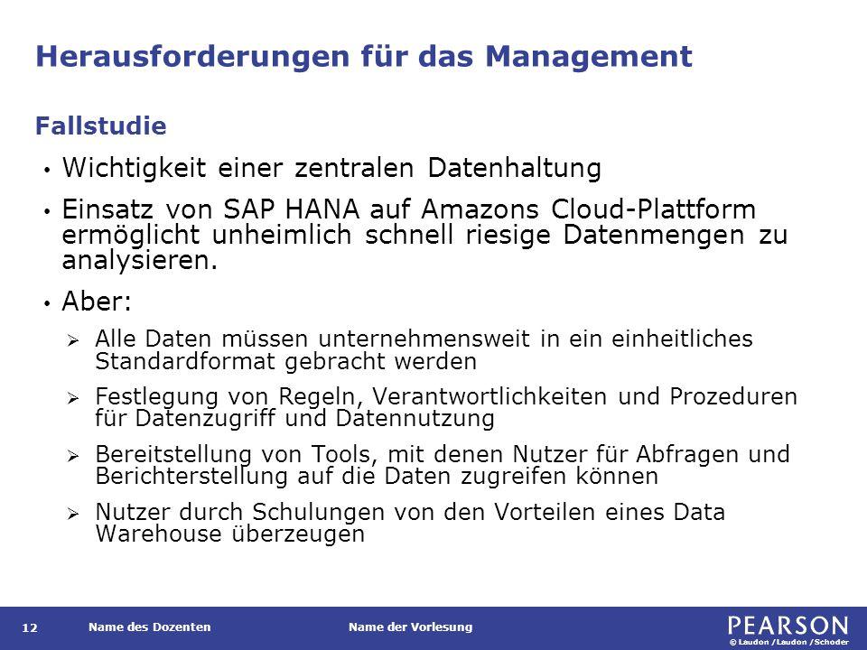 © Laudon /Laudon /Schoder Name des DozentenName der Vorlesung Herausforderungen für das Management 12 Wichtigkeit einer zentralen Datenhaltung Einsatz