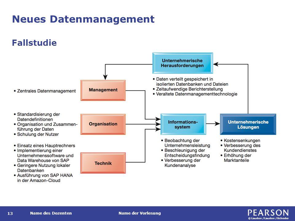 © Laudon /Laudon /Schoder Name des DozentenName der Vorlesung Neues Datenmanagement 13 Fallstudie