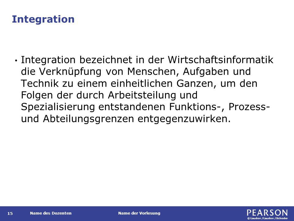 © Laudon /Laudon /Schoder Name des DozentenName der Vorlesung Integration 15 Integration bezeichnet in der Wirtschaftsinformatik die Verknüpfung von M