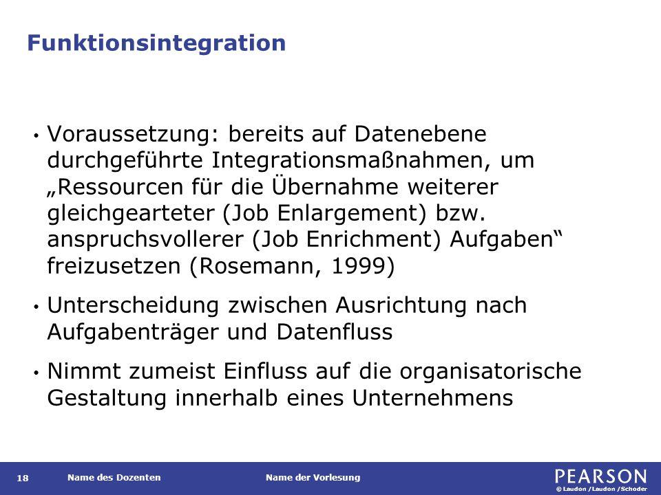© Laudon /Laudon /Schoder Name des DozentenName der Vorlesung Funktionsintegration 18 Voraussetzung: bereits auf Datenebene durchgeführte Integrations