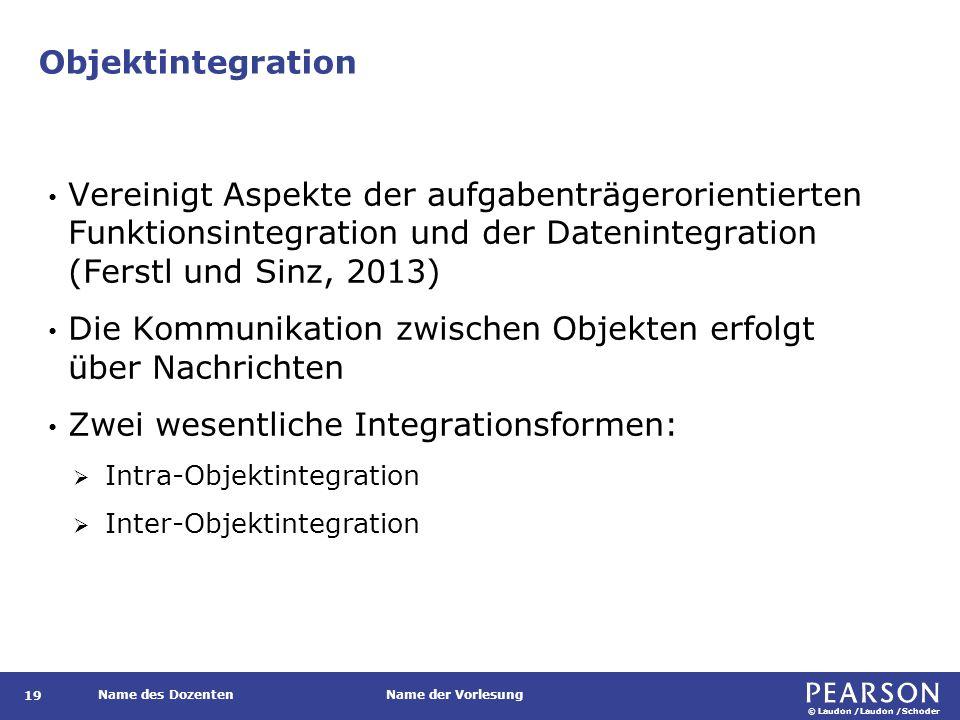 © Laudon /Laudon /Schoder Name des DozentenName der Vorlesung Objektintegration 19 Vereinigt Aspekte der aufgabenträgerorientierten Funktionsintegrati