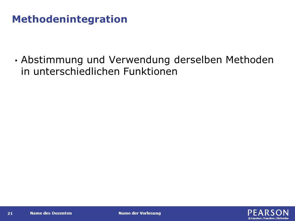© Laudon /Laudon /Schoder Name des DozentenName der Vorlesung Methodenintegration 21 Abstimmung und Verwendung derselben Methoden in unterschiedlichen