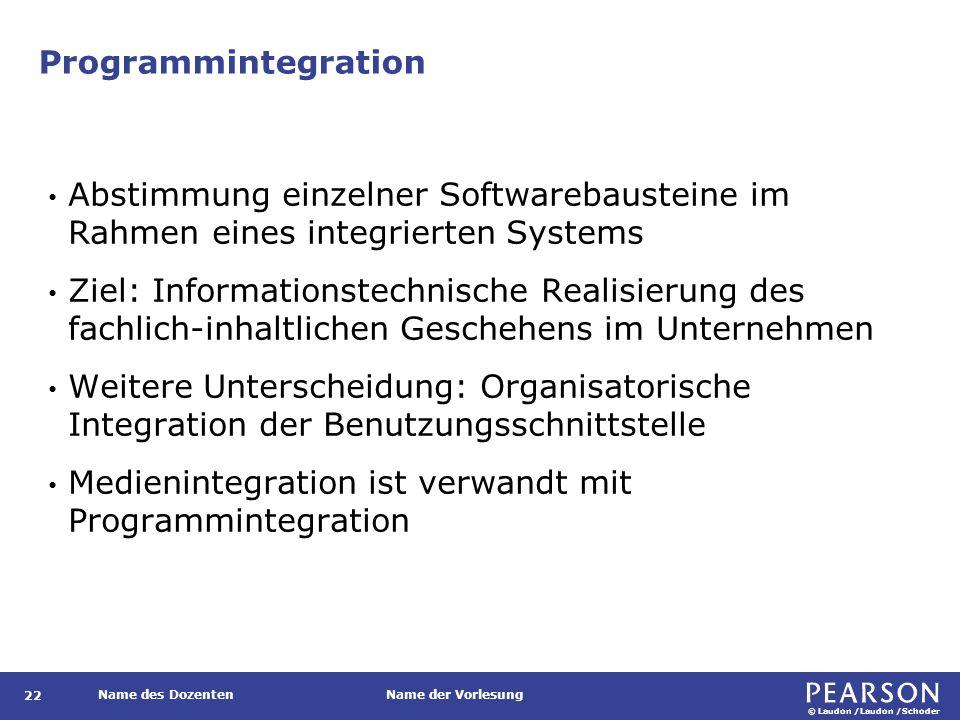 © Laudon /Laudon /Schoder Name des DozentenName der Vorlesung Programmintegration 22 Abstimmung einzelner Softwarebausteine im Rahmen eines integriert