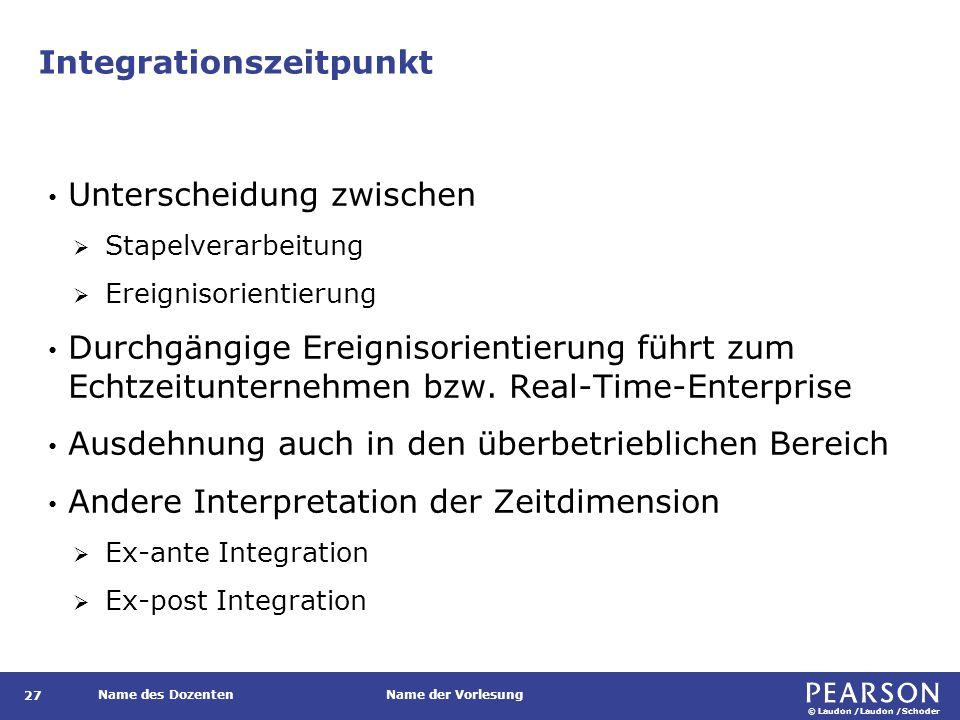 © Laudon /Laudon /Schoder Name des DozentenName der Vorlesung Integrationszeitpunkt 27 Unterscheidung zwischen  Stapelverarbeitung  Ereignisorientie