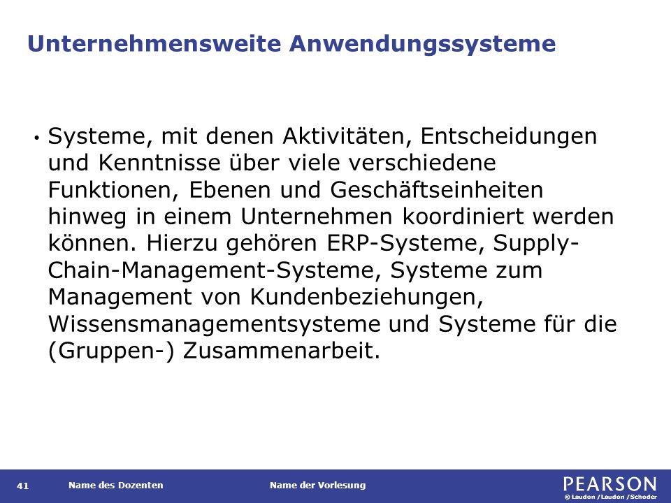 © Laudon /Laudon /Schoder Name des DozentenName der Vorlesung Unternehmensweite Anwendungssysteme 41 Systeme, mit denen Aktivitäten, Entscheidungen un