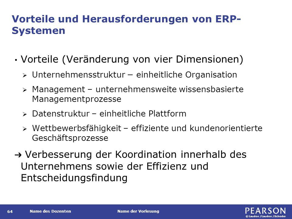 © Laudon /Laudon /Schoder Name des DozentenName der Vorlesung Vorteile und Herausforderungen von ERP- Systemen 64 Vorteile (Veränderung von vier Dimen