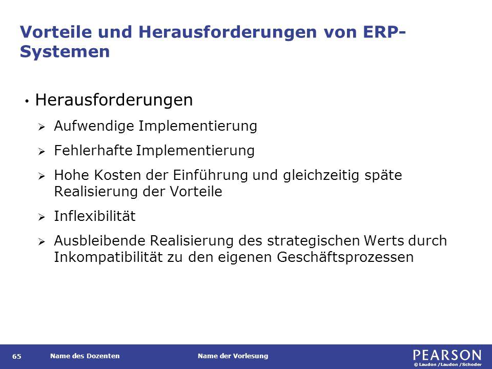 © Laudon /Laudon /Schoder Name des DozentenName der Vorlesung Vorteile und Herausforderungen von ERP- Systemen 65 Herausforderungen  Aufwendige Imple