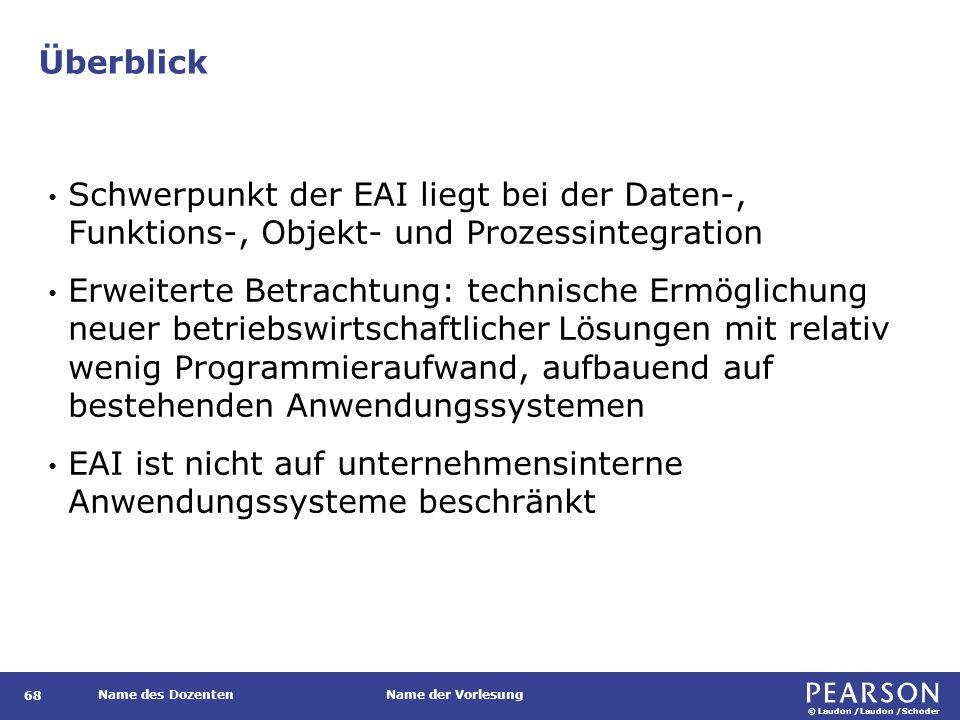 © Laudon /Laudon /Schoder Name des DozentenName der Vorlesung Überblick 68 Schwerpunkt der EAI liegt bei der Daten-, Funktions-, Objekt- und Prozessin