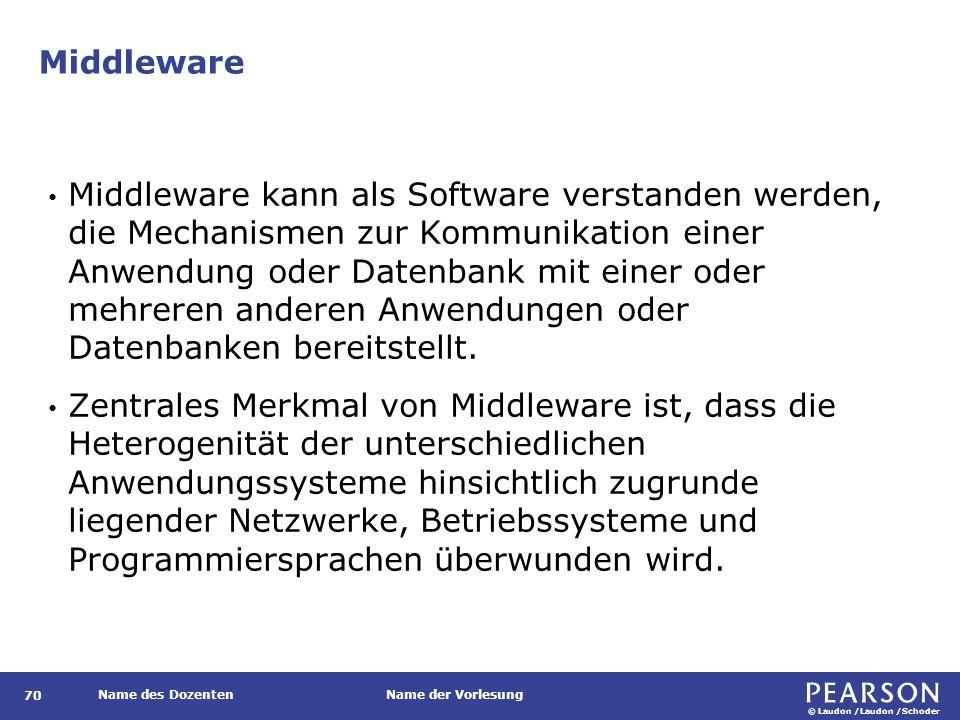 © Laudon /Laudon /Schoder Name des DozentenName der Vorlesung Middleware 70 Middleware kann als Software verstanden werden, die Mechanismen zur Kommun