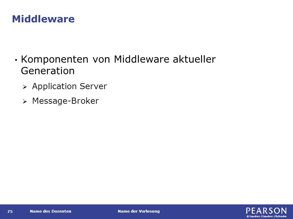 © Laudon /Laudon /Schoder Name des DozentenName der Vorlesung Middleware 75 Komponenten von Middleware aktueller Generation  Application Server  Mes