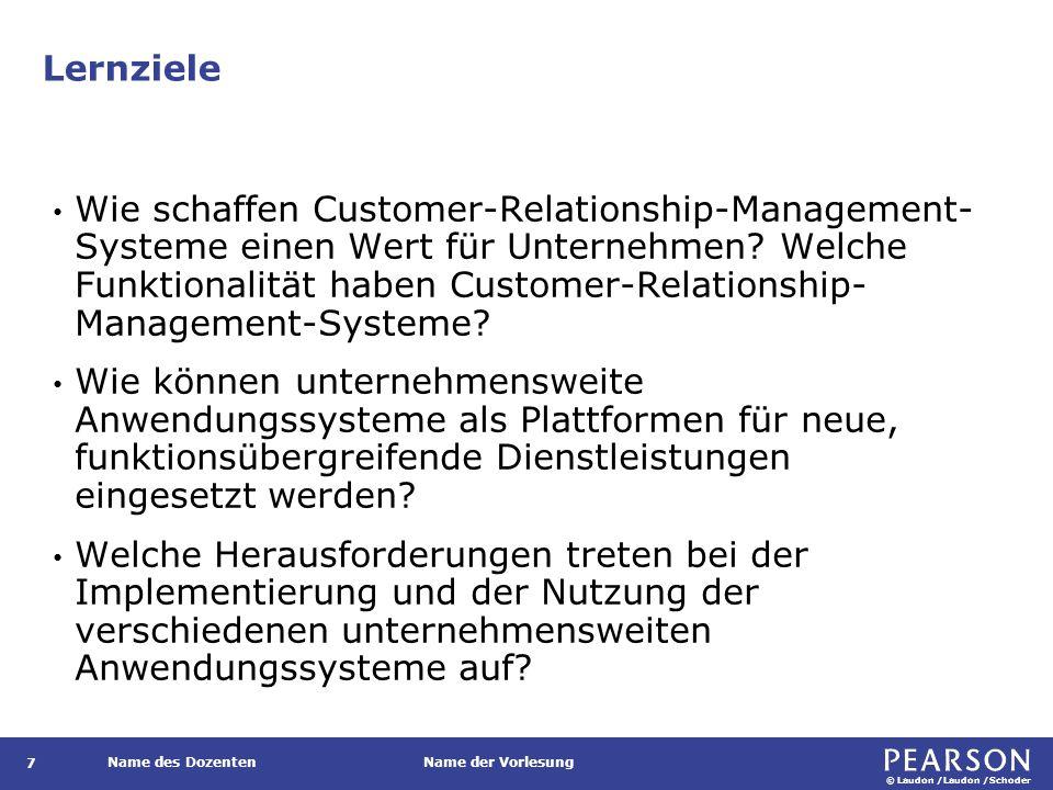 © Laudon /Laudon /Schoder Name des DozentenName der Vorlesung Lernziele 7 Wie schaffen Customer-Relationship-Management- Systeme einen Wert für Untern