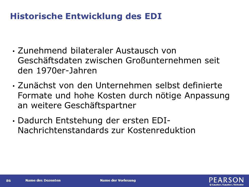 © Laudon /Laudon /Schoder Name des DozentenName der Vorlesung Historische Entwicklung des EDI 86 Zunehmend bilateraler Austausch von Geschäftsdaten zw