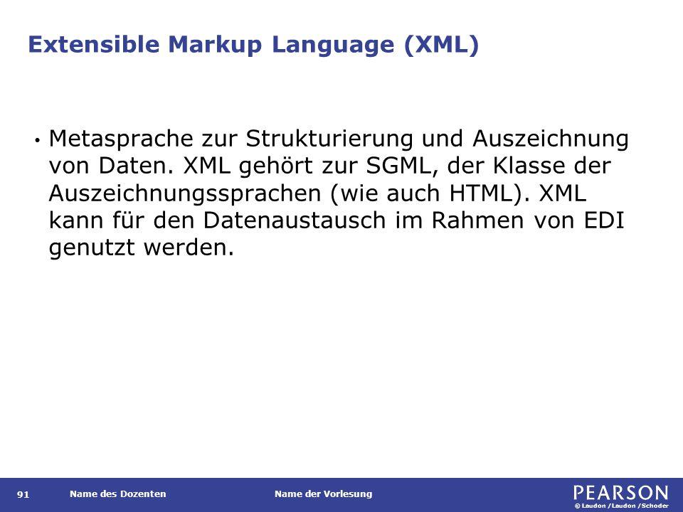 © Laudon /Laudon /Schoder Name des DozentenName der Vorlesung Extensible Markup Language (XML) 91 Metasprache zur Strukturierung und Auszeichnung von
