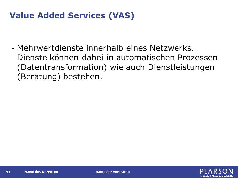 © Laudon /Laudon /Schoder Name des DozentenName der Vorlesung Value Added Services (VAS) 93 Mehrwertdienste innerhalb eines Netzwerks. Dienste können