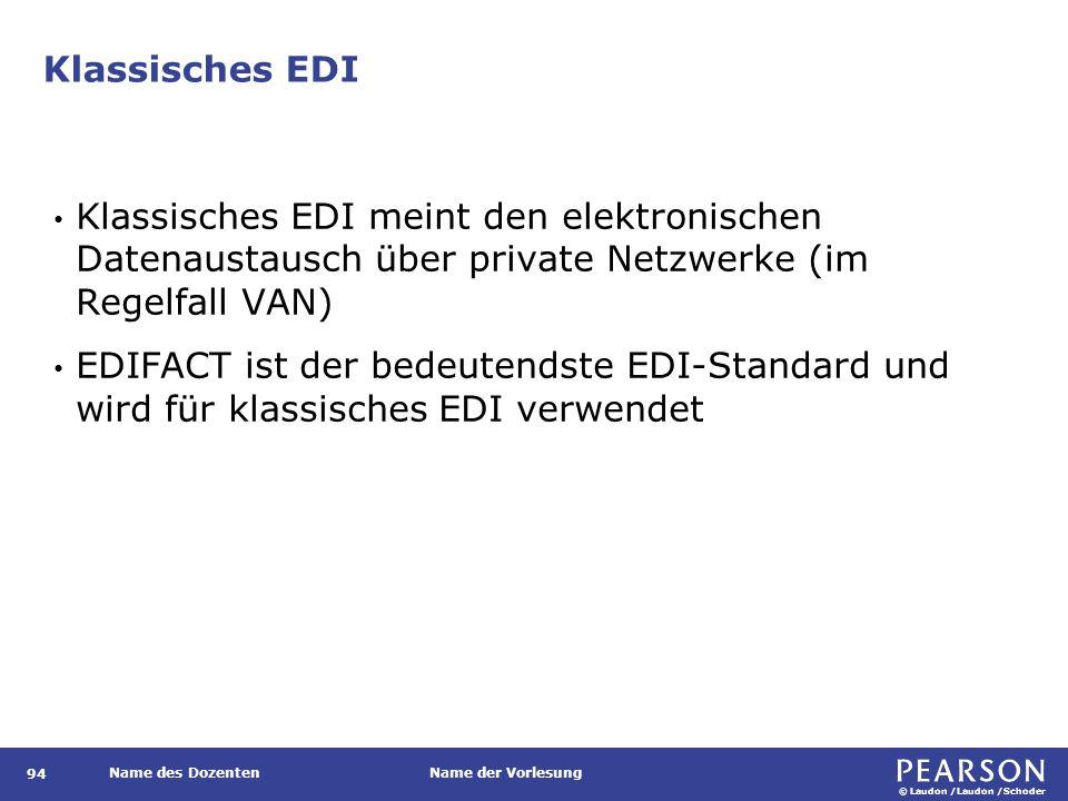 © Laudon /Laudon /Schoder Name des DozentenName der Vorlesung Klassisches EDI 94 Klassisches EDI meint den elektronischen Datenaustausch über private