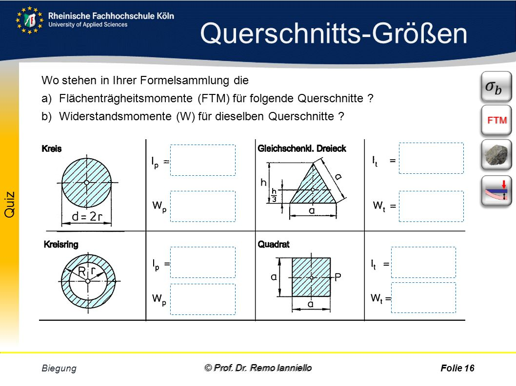 Aufgabe Quiz Flächenträgheitsmoment Biegung © Prof.